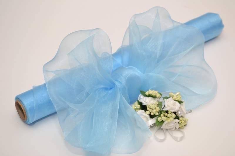 Modrá - Dekorační organza - bledě modrá