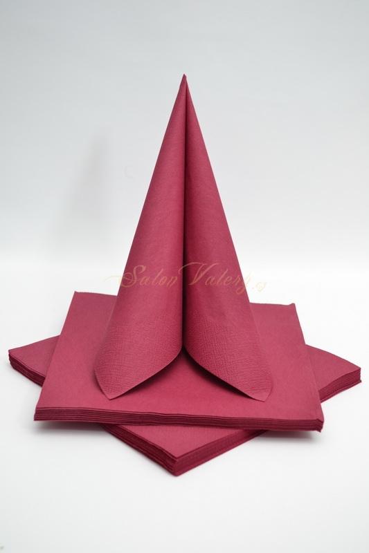 Dekorace na stůl - Třívrstvé ubrousky - bordó