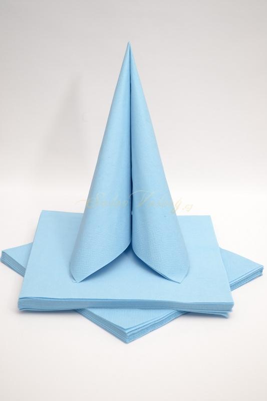Dekorace na stůl - Třívrstvé ubrousky - světle modrá