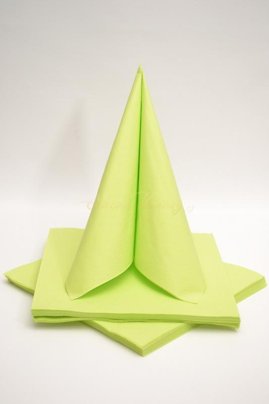 Dekorace na stůl - Třívrstvé ubrousky - žlutozelená
