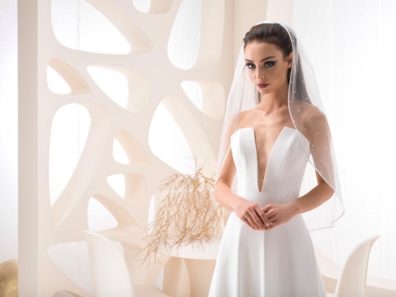 Doplňky pro nevěstu - Jednovrstvý závoj s kamínky