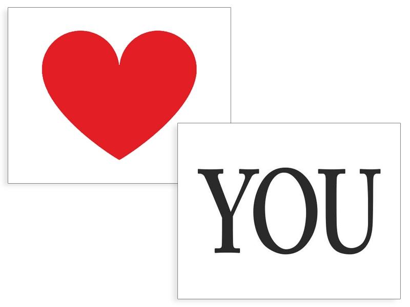 Doplňky pro nevěstu - Nálepky Srdce/You