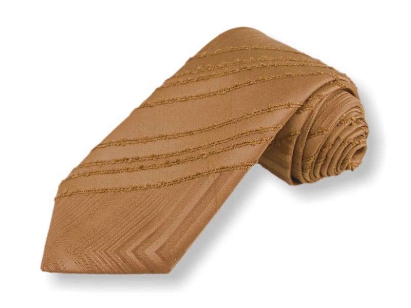 Doplňky pro ženicha - Tkaná kravata - sv.hnědá