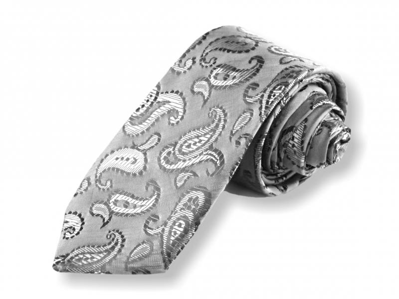 Doplňky pro ženicha - Tkaná kravata - stříbrná kašmírová