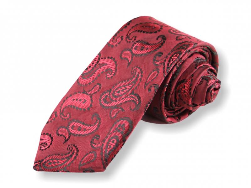 Doplňky pro ženicha - Tkaná kravata - červená kašmírová