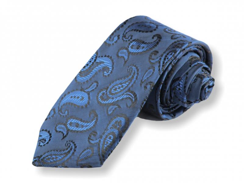 Doplňky pro ženicha - Tkaná kravata - modrá kašmírová
