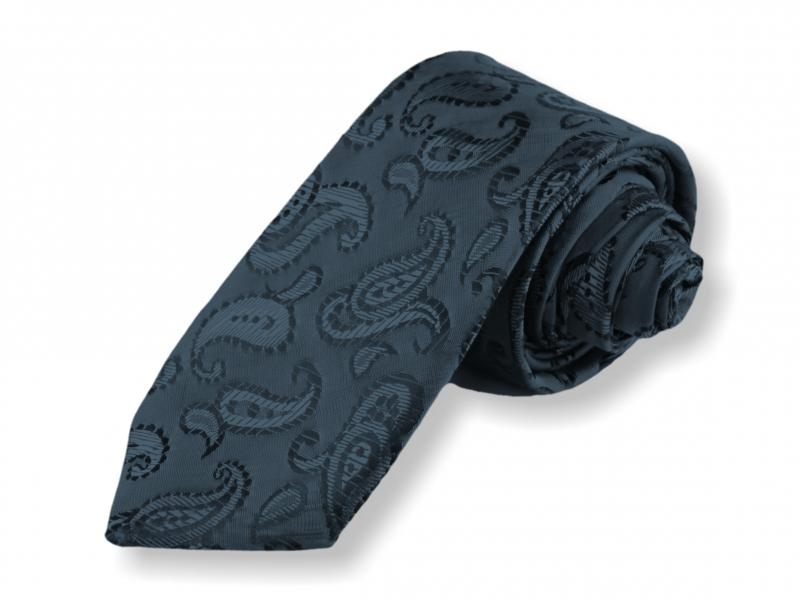Doplňky pro ženicha - Tkaná kravata - modročerná kašmírová