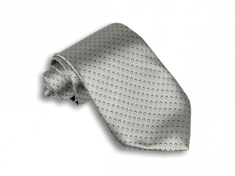 Doplňky pro ženicha - Stříbrná kravata se vzorem