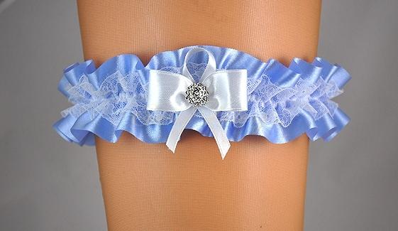 Doplňky pro nevěstu - Modrý podvazek s bílou mašlí