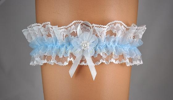 Doplňky pro nevěstu - Světle modrý podvazek s krajkou