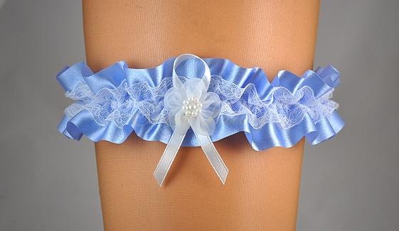 Doplňky pro nevěstu - Modrý podvazek s krajkou