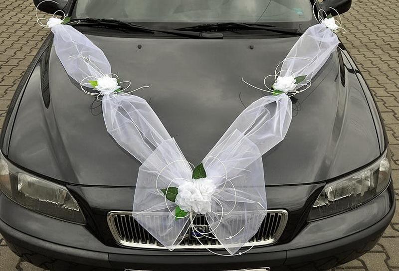 Svatební dekorace na auto - Šerpa z organzy + ozdoby klik