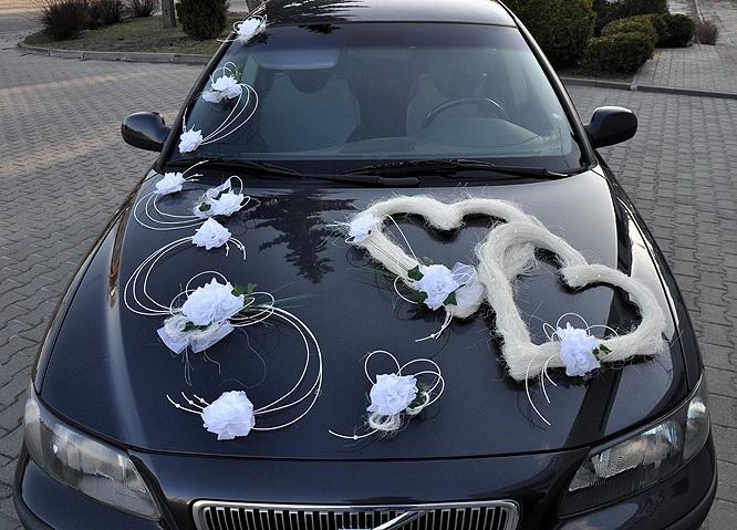 Svatební dekorace na auto - Výzdoba na auto dvojsrdce