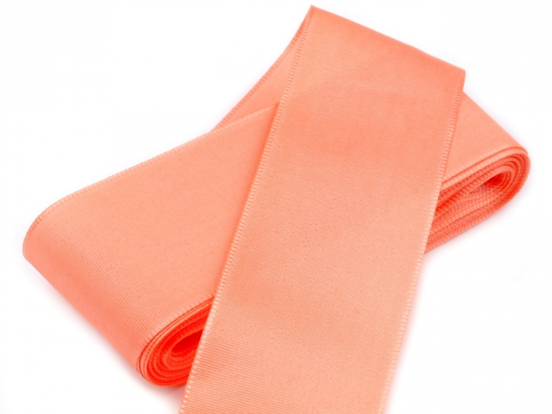 Vývazky, placky a stuhy - Taftová stuha lososová - 40mm