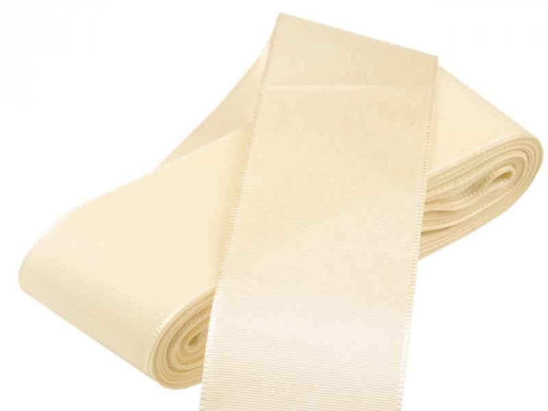 Vývazky, placky a stuhy - Taftová stuha krémová - 40mm