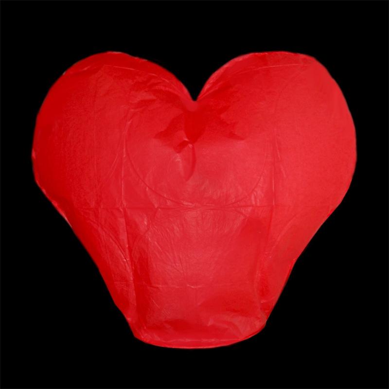 Lampióny štěstí - Lampion štěstí srdce - červené