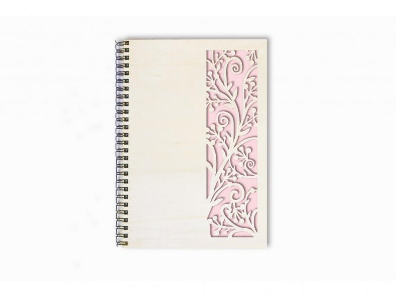 Svatební diáře a deníky - Deník floral dřevěný