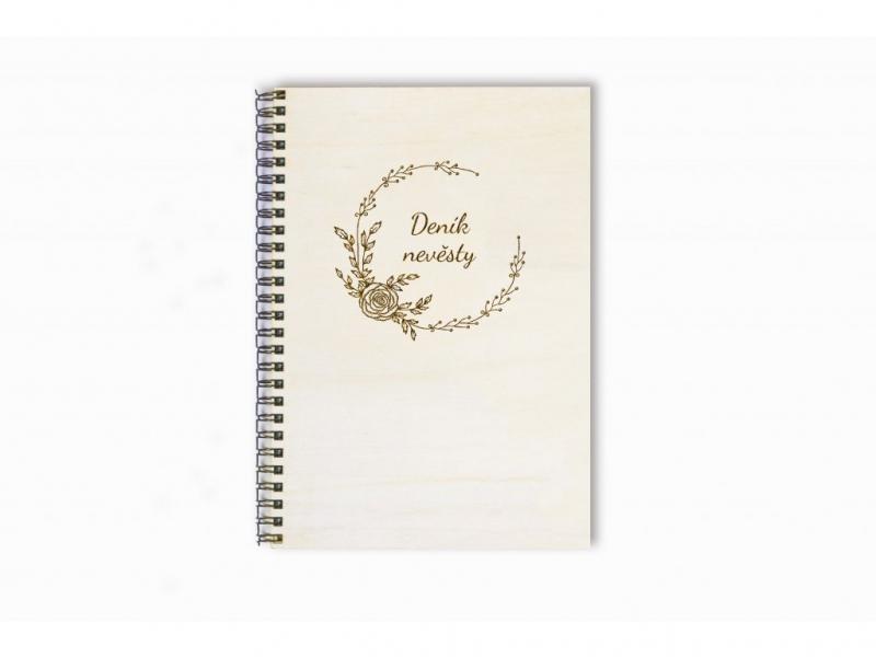 Svatební diáře a deníky - Deník nevěsty dřevěný