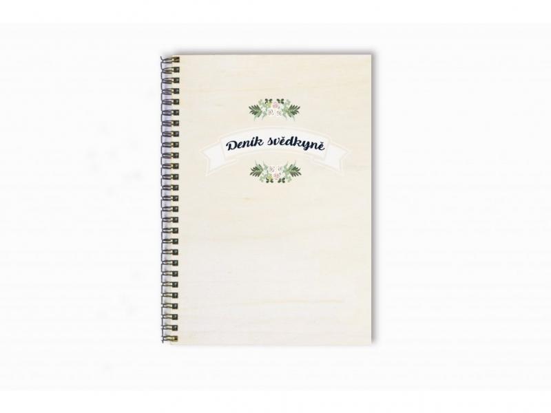 Dary pro svědka a svědkyni - Deník svědkyně s girlandou dřevěný