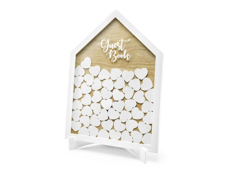 Svatební ozdoby a doplňky - Dřevěný rámeček se srdíčky