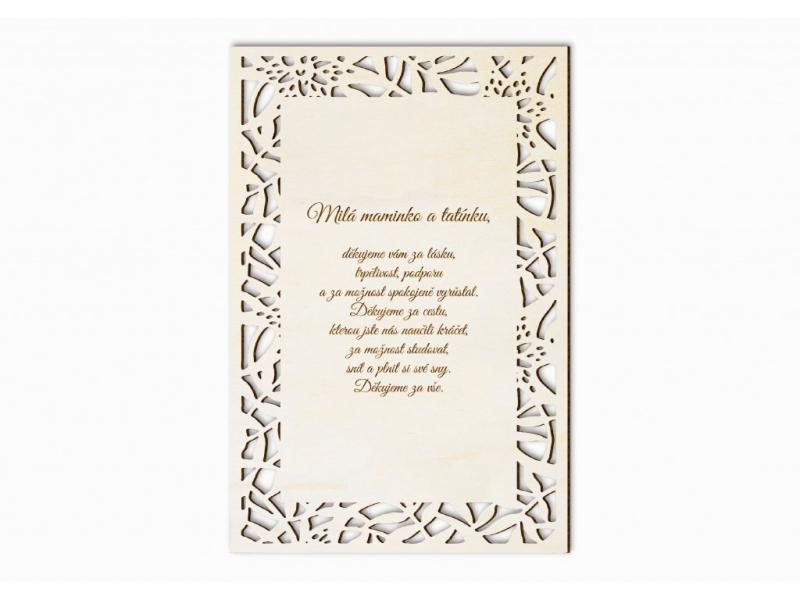 Dárky pro svatebčany - Poděkování rodičům dopis