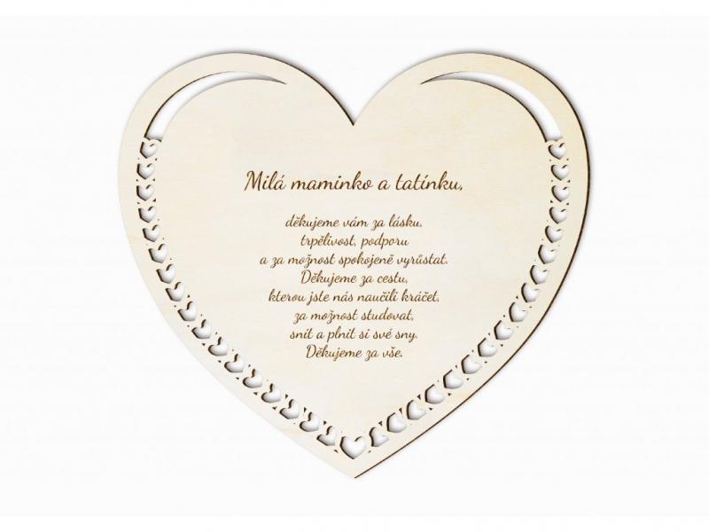 Dárky pro svatebčany - Poděkování rodičům dřevěné srdce