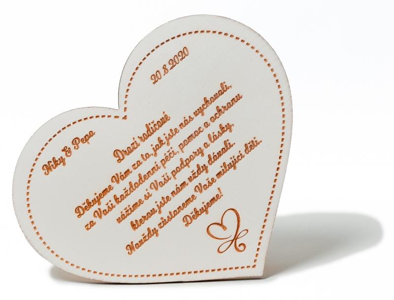 Svatební ozdoby a doplňky - Poděkování rodičům dřevěné