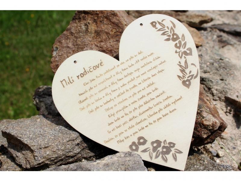 Svatební ozdoby a doplňky - Poděkování rodičům od dcery/syna