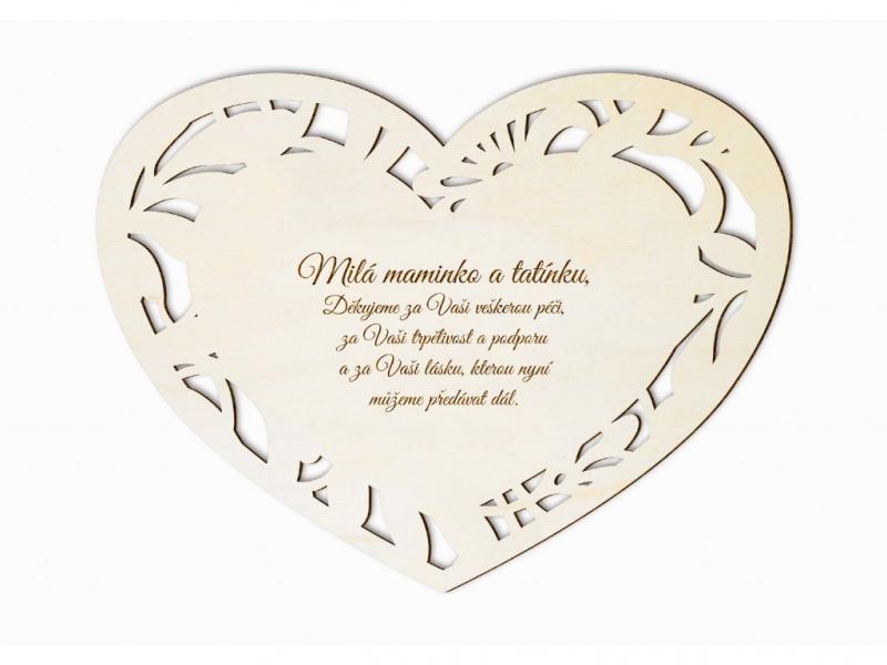 Dárky pro svatebčany - Poděkování rodičům vyřezávané srdce