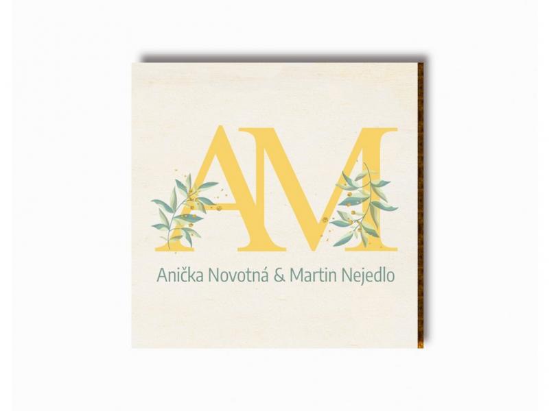 Dárky pro svatebčany - Svatební magnet iniciály s listy