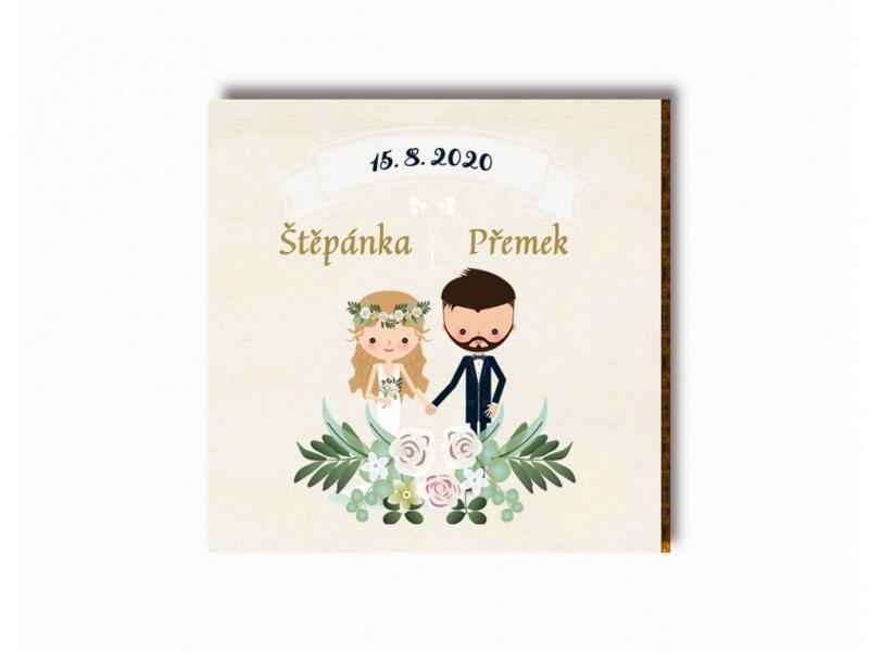 Dárky pro svatebčany - Svatební magnet kreslený pár s girlandou