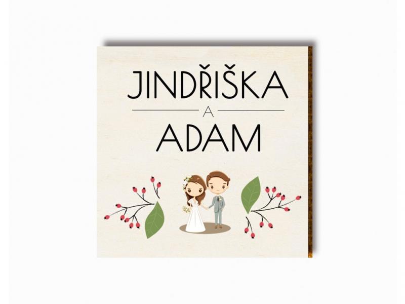 Dárky pro svatebčany - Svatební magnet kreslený pár s šípky