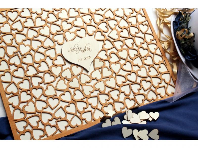 Svatební ozdoby a doplňky - Svatební obraz na vzkazy - srdce