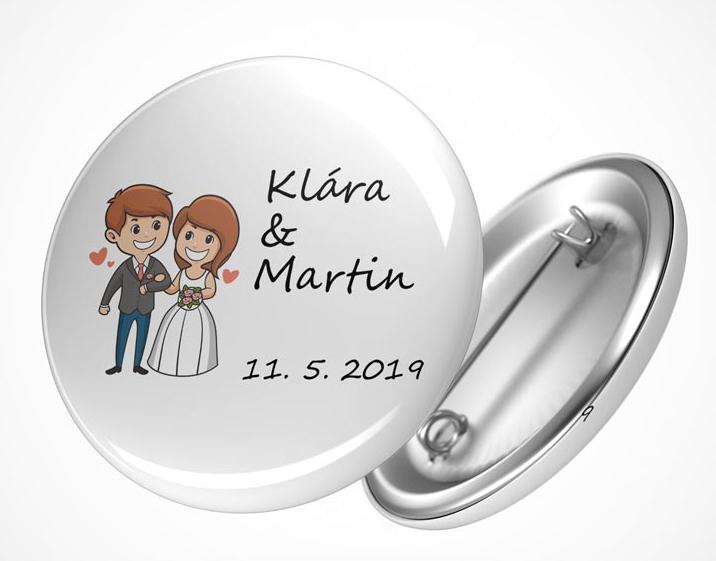 Vývazky, placky a stuhy - Svatební placka nevěsta a ženich