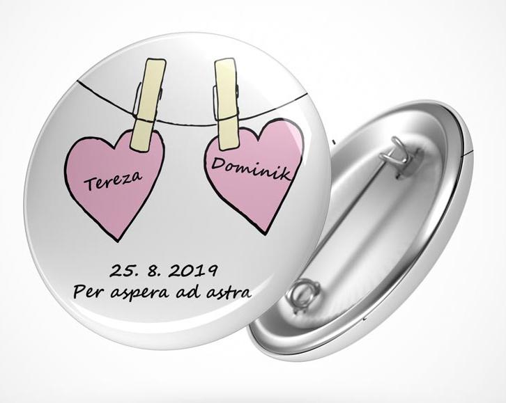 Vývazky, placky a stuhy - Svatební placka srdce