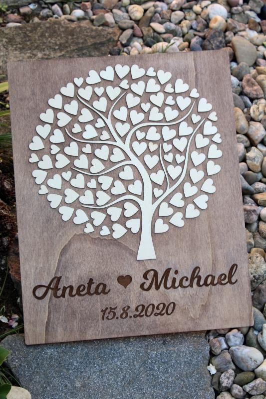 Svatební ozdoby a doplňky - Svatební strom dřevěný s vašimi jmény