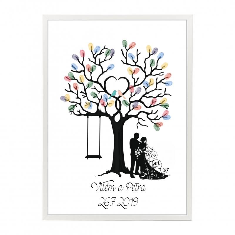 Svatební ozdoby a doplňky - Svatební strom s ptáčky v rámu