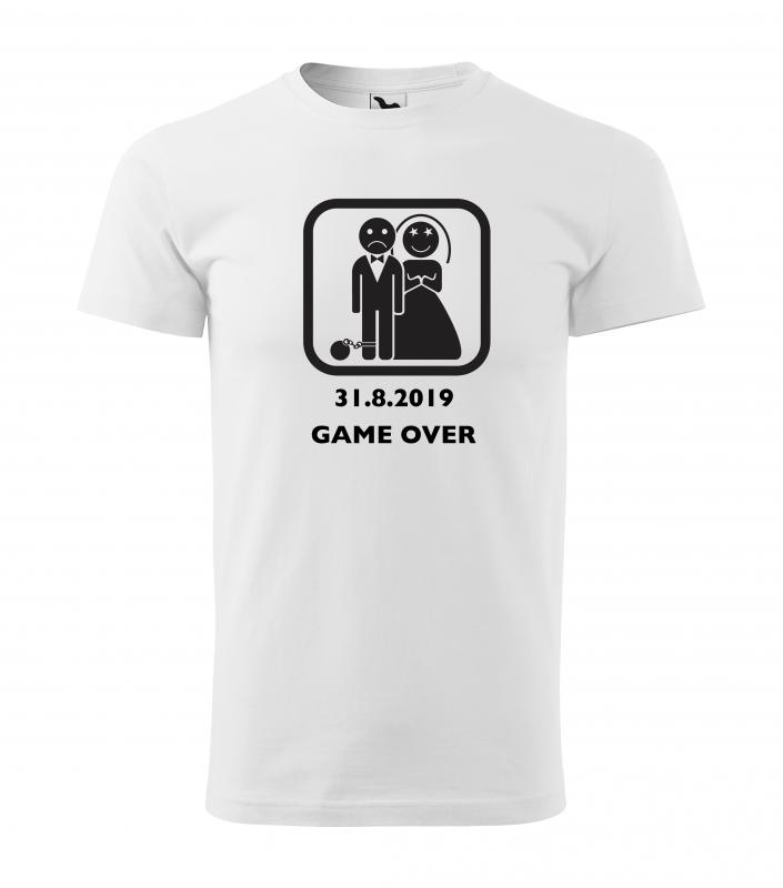 Rozlučka se svobodou - Tričko Game over s koulí