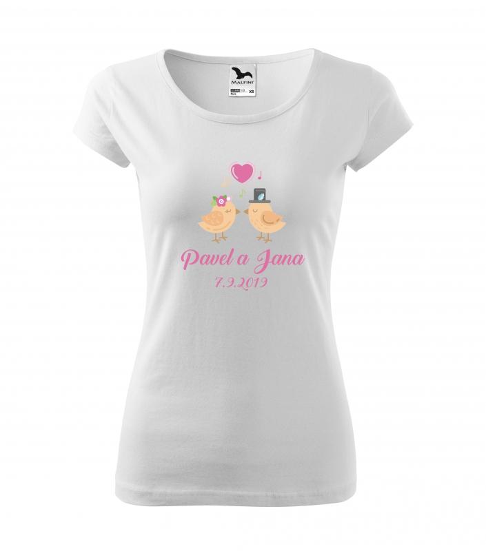 Svatební trička - Tričko ptačí pár - dámské