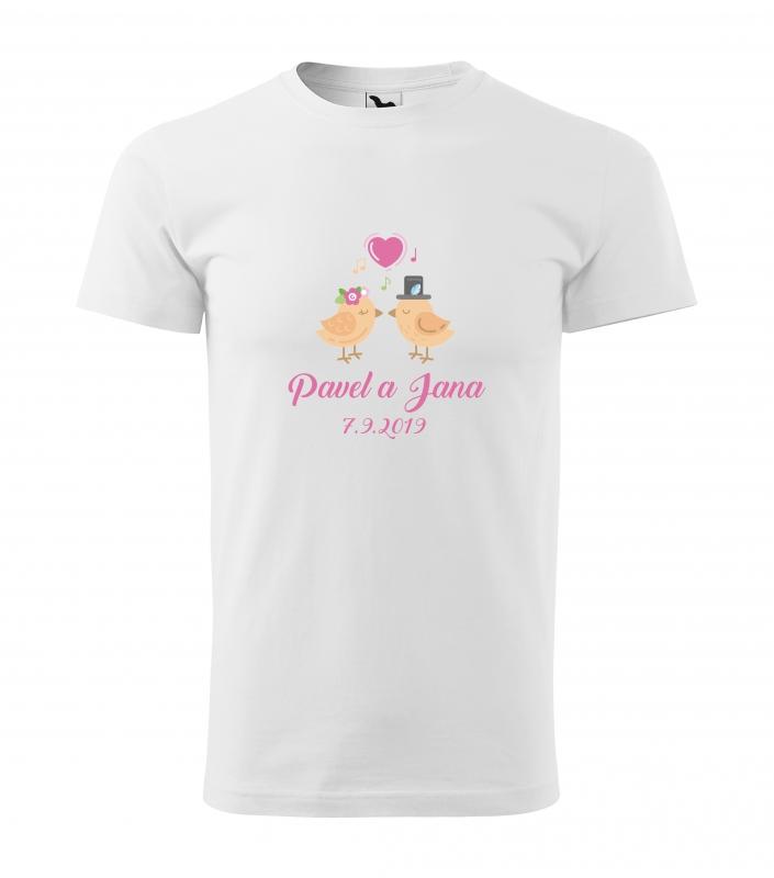 Svatební trička - Tričko ptačí pár - pánské