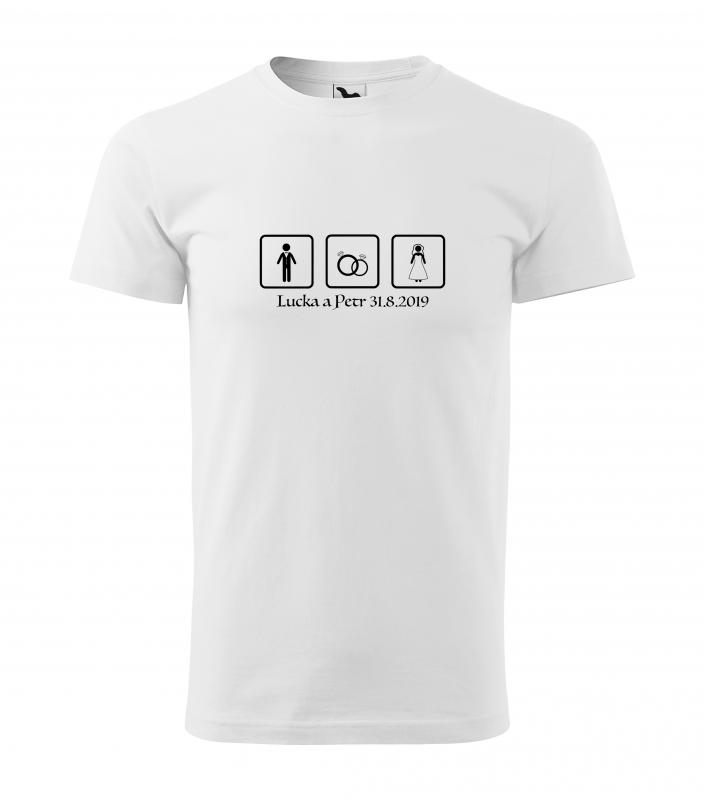 Svatební trička - Tričko tři čtverce - pánské