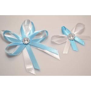 Svatební vývazek s broží - bledě modrá
