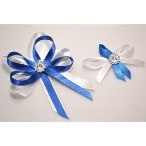 Svatební vývazek s broží - modrá