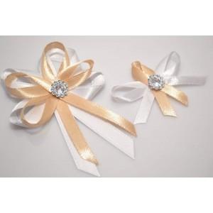 Svatební vývazek s broží - zlatá