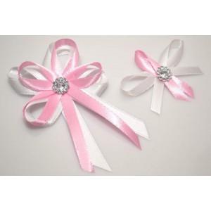 Svatební vývazek s broží - růžová