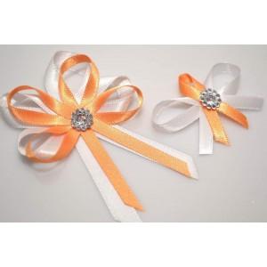 Svatební vývazek s broží - oranžová