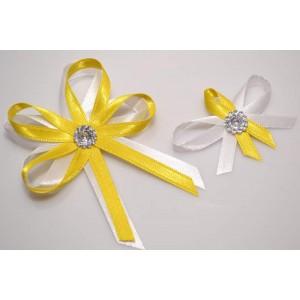 Svatební vývazek s broží - žlutá