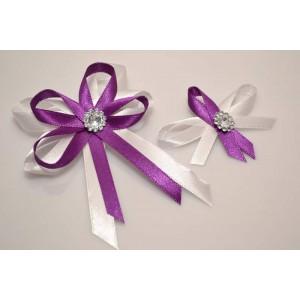 Svatební vývazek s broží - fialová