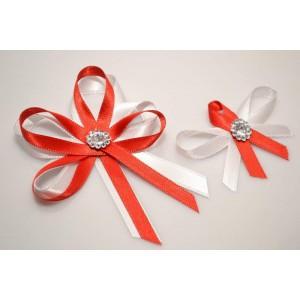Svatební vývazek s broží - červená