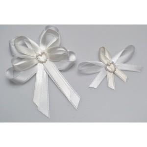 Svatební vývazek s perleťovým srdíčkem - krémová